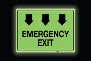 Glow: Emergency Exit Arrows Down (Rectangle) - Floor Sign