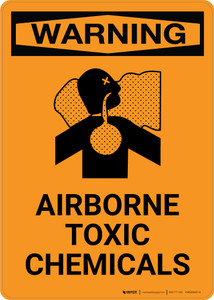Warning: Airborne Toxic Chemicals with Icon - Portrait Wall Sign