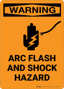 Warning: Arc Flash and Shock Hazard with Icon - Portrait Wall Sign