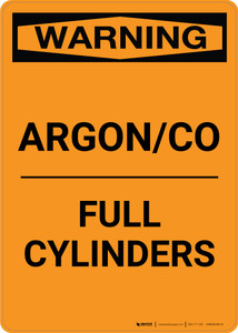 Warning: Argon/CO - Full Cylinders - Portrait Wall Sign