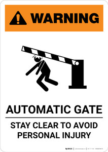 Warning: Automatic Gate Stay Clear with Icon - Portrait Wall Sign