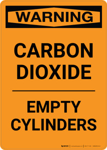 Warning: Carbon Dioxide - Empty Cylinders - Portrait Wall Sign