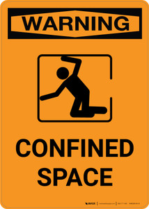 Warning: Confined Space with Icon - Portrait Wall Sign