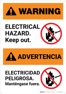 Warning: Electrical Hazard - Keep Out Bilingual Spanish - Portrait Wall Sign