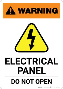 Warning: Electrical Panel - Do Not Open with Icon - Portrait Wall Sign