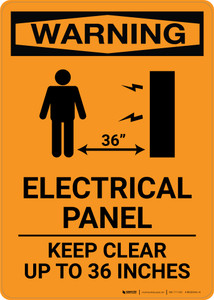 Warning: Electrical Panel - Keep Clear 36 Inches With Graphic - Portrait Wall Sign