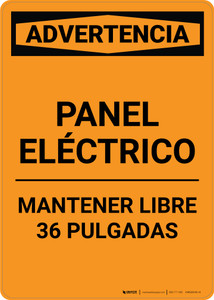 Warning: Electrical Panel - Keep Clear Spanish - Portrait Wall Sign