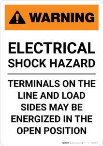 Warning: Electrical Shock Hazard - Energize Line and Load Sides - Portrait Wall Sign