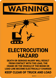 Warning: Electrocution Hazard Serious Injury Will Result - Portrait Wall Sign