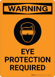 Warning: Eye Protection Required with Icon - Portrait Wall Sign