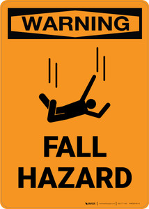 Warning: Fall Hazard with Icon - Portrait Wall Sign