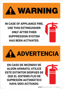 Warning: Fire Extinguisher Instruction Bilingual Spanish - Portrait Wall Sign