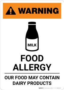 Warning: Food Allergy - Food May Contain Dairy with Icon - Portrait Wall Sign