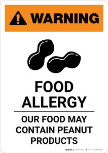 Warning: Food Allergy - Food May Contain Peanuts with Icon - Portrait Wall Sign
