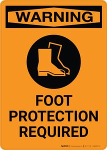 Warning: Foot Protection Required with Icon - Portrait Wall Sign