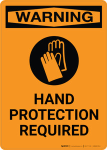 Warning: Hand Protection Required with Icon - Portrait Wall Sign