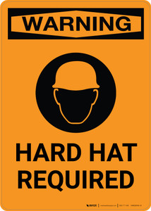 Warning: Hard Hat Required with Icon - Portrait Wall Sign