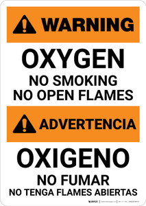 Warning: Oxygen - No Smoking - No open Flames - Bilingual Spanish - Portrait Wall Sign