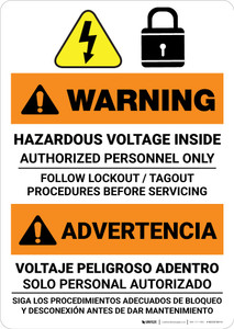Warning: Hazardous Voltage Follow Lockout Procedures Bilingual Spanish - Portrait Wall Sign