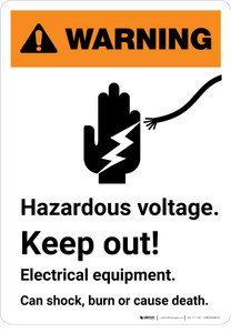 Warning: Hazardous Voltage Keep Out with Icon - Portrait Wall Sign