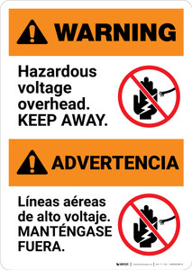 Warning: Hazardous Voltage Overhead Bilingual Spanish - Portrait Wall Sign