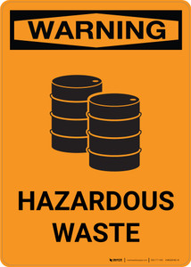 Warning: Hazardous Waste With Graphic - Portrait Wall Sign