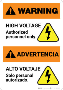 Warning: High Voltage - Authorized Personnel Only Bilingual Spanish - Portrait Wall Sign