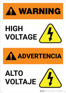 Warning: High Voltage - Bilingual Spanish - Portrait Wall Sign