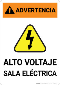 Warning: High Voltage - Electrical Room Spanish Landscape - Portrait Wall Sign