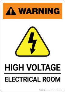 Warning: High Voltage - Electrical Room - Portrait Wall Sign