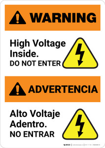 Warning: High Voltage Inside - Do Not Enter Bilingual Spanish - Portrait Wall Sign