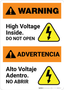Warning: High Voltage Inside - Do Not Open Bilingual Spanish - Portrait Wall Sign