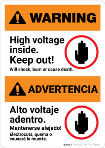 Warning: High Voltage Inside - Keep Out Bilingual Spanish - Portrait Wall Sign