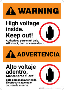 Warning: High Voltage Inside - Keep Out Landscape Bilingual Spanish - Portrait Wall Sign