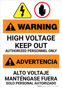 Warning: High Voltage Keep Out - Authorized Bilingual Spanish - Portrait Wall Sign