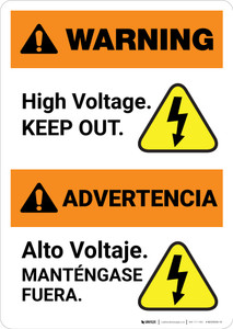 Warning: High Voltage Keep Out - Bilingual Spanish - Portrait Wall Sign