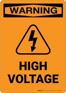 Warning: High Voltage with Icon - Portrait Wall Sign