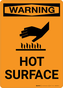 Warning: Hot Surface with Icon - Portrait Wall Sign
