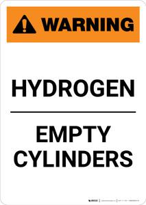 Warning: Hydrogen - Empty Cylinders - Portrait Wall Sign