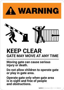 Warning: Keep Clear - Gate May Move At Any Time with Icons - Portrait Wall Sign