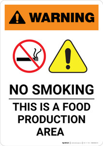 Warning: No Smoking - This is a Food Production Area with Icon - Portrait Wall Sign
