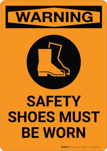 Warning: PPE Safety Shoes Must be Worn with Icon - Portrait Wall Sign