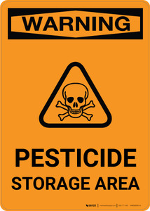 Warning: Pesticide Storage Area with Icon - Portrait Wall Sign