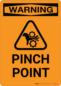 Warning: Pinch Point with Icon - Portrait Wall Sign