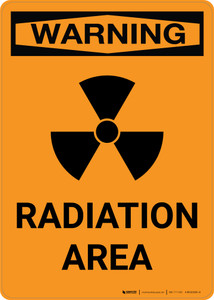 Warning: Radiation Area with Icon - Portrait Wall Sign