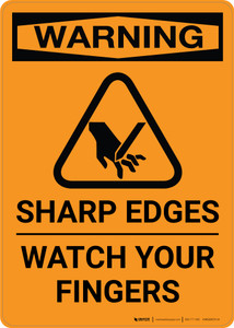 Warning: Sharp Edges with Icon - Portrait Wall Sign