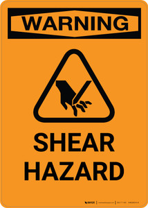 Warning: Shear Hazard with Icon - Portrait Wall Sign
