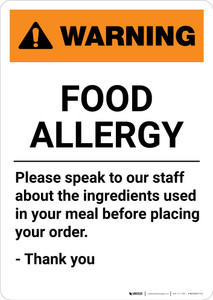 Warning: Food Allergy - Please Speak to Our Staff - Portrait Wall Sign