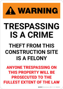 Warning: Trespassing Is A Crime - Theft From This Construction Site Is A Felony - Portrait Wall Sign