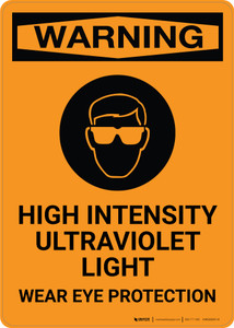 Warning: High Intensity Ultraviolet Light - Wear Eye Protection with Icon - Portrait Wall Sign
